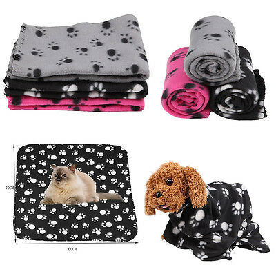 Pet Small Medium Large Paw Print Pet Cat Dog Fleece Soft Warmer Blanket Beds Mat