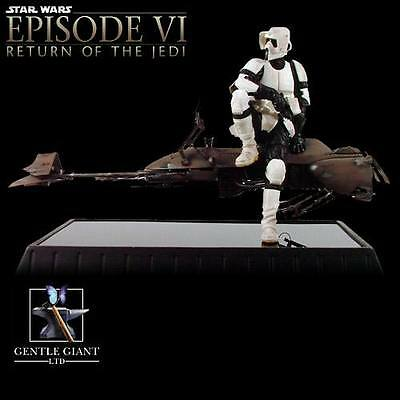 Star Wars Scout Trooper & Speeder Bike Gentle Giant Statue New Mib 2918/5000