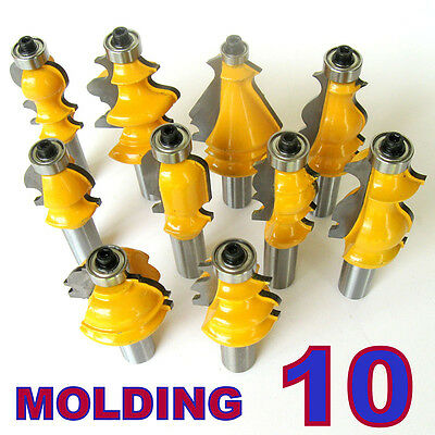 "10pcs Architectural Specialty Molding Router Bit set Woodworking Tool 1/2"" Shank"