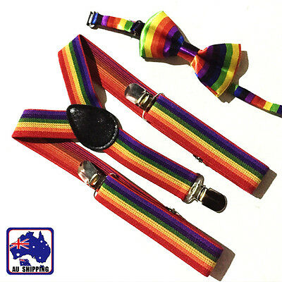 Kids Rainbow Y-Back Braces Adjustable Elastic Suspenders+Bow Tie Party CSUS41699