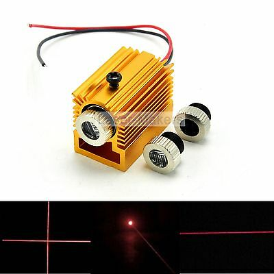 Focusable 650nm 5mw Red Laser Dot Line Cross Diode Module LED w/Heatsink 12x35mm