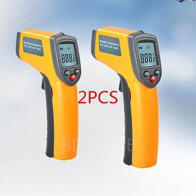 1*2X Non Contact LCD Digital IR Infrared Thermometer Temperature Meter Laser lF&