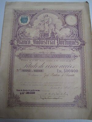 Portuguese Industrial Bank - five Shares certificate - 1921