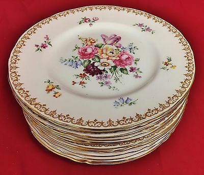 "Crown Staffordshire ""England's Bouquet"" Gold Gilt Lunch Plates - Set of 12"
