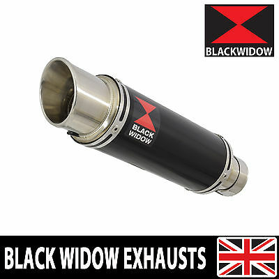 Black Widow Black Stainless Exhaust Silencer End Can 23Cm Gp Style Slip On Bg23R
