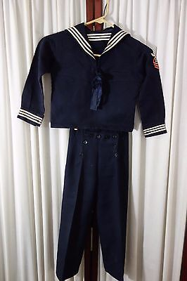 40's Boy's Sailor Suit-Navy w/Sailor Collar-Looks Like Miniature Uniform- SALE