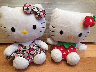 2x TY Beanie Hello Kitty Plush Soft Toys Flower Dress & Strawberry 6 Inches
