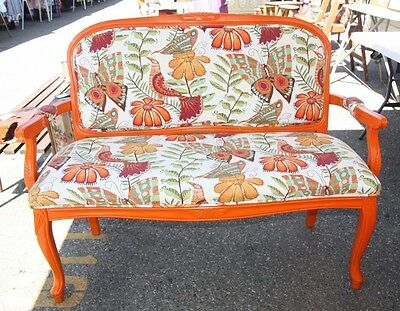 Vintage Settee Sofa Loveseat Couch Orange Butterfly Newly Upholstery Refinished