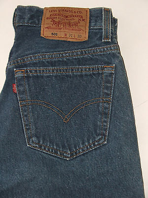 vtg 90s Levi's 501s Button Fly Jeans 100% Cotton Made in USA Size 30x30 EUC