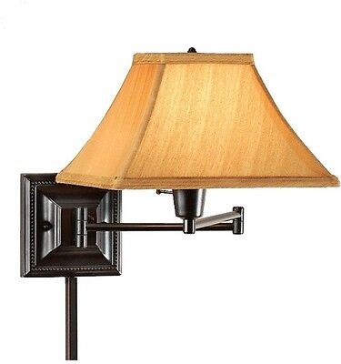 Bronze Swing Arm Wall Mount Lamp Sconce Light Fabric Shade Antique Copper 3-Way