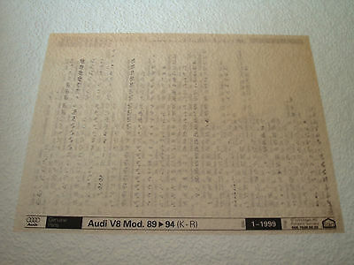 AUDI V8 MOD.89 to 94 (K-R) PARTS MICROFICHE FULL SET OF 1 - DATED JAN.1999