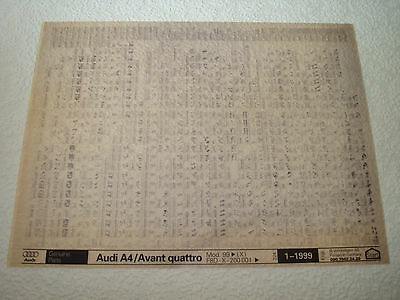 AUDI A4 & AVANT QUATTRO MOD.99on (X) PARTS MICROFICHE FULL SET OF 1 - JAN.1999
