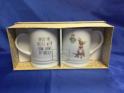 FRINGE Set TWO Porcelain Coffee Mugs Cups CHIHUAHUA DOG Deck The Halls NEW!