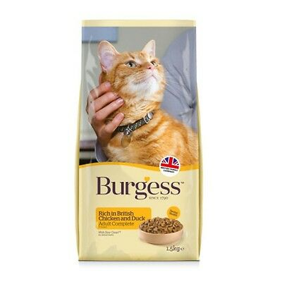 Burgess Cat Chicken & Duck Dry Adult Cat Food 1.5kg and 10kg Bags NEXT DAY DEL