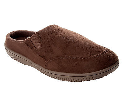 Mens Brown Soft & Comfy Faux Suede Slip On Mules Slippers Uk Size 7-11