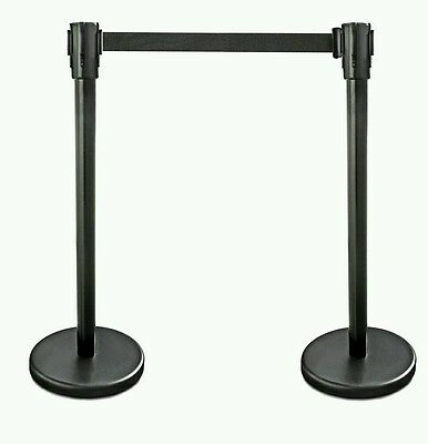 "New Star Foodservice 54590 Stanchions, 36"" Height, 6.5' Retractable Belt, Black"