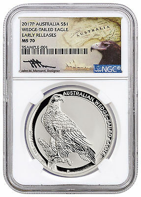 2017-P Australia $1 1 oz Silver Wedge Tailed Eagle NGC MS70 ER Mercanti SKU44919