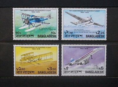 BANGLADESH 1978 Powered Flight Aviation. Set of 4. Mint Never Hinged. SG121/124.