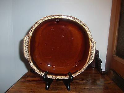 Hull Usa Brown Drip Casserole Dish With Side Handles 9 In Square