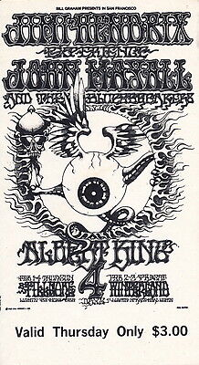 Jimi Hendrix Rick Griffin 1968 BG 105 MINT/ORIGINAL Fillmore Ticket