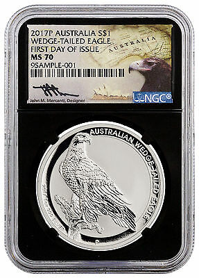2017-P Silver Wedge Tailed Eagle NGC MS70 First Day Issue Mercanti Blk SKU44928