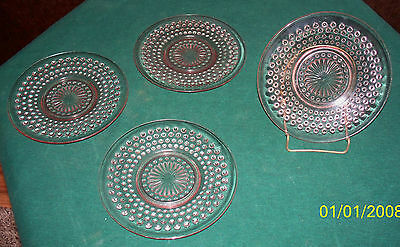 (4) Anchor Hocking Pink Hobnail Depression Glass Dessert Plates- 6 Inches Wide
