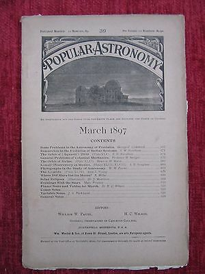 1897 Popular Astronomy Monthly Magazine March Science Vintage Victorian us4