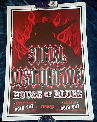 "Rare 2005/2006 Social Distortion Tour Poster House Of Blues Sold Out 17""x12"" Oc"