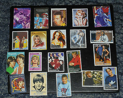 COLLECTION OF 20 MUSIC STAMPS - (2) inc Madonna , Rolling Stones , Elton John,