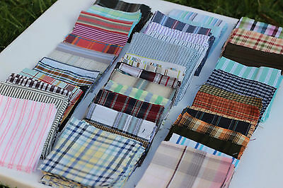 """Checkered shirt fabric 20x3"""" squares, 100% cotton charm pack, quilt/patchwork"""