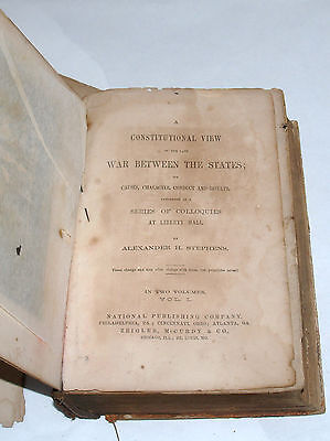 Civil War History Book Constitutional View Of War Between The States Stephens V1