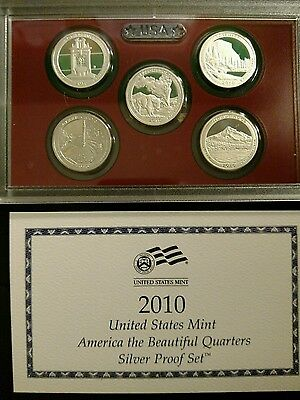 2010 US Mint America the Beautiful Quarters Silver Proof Set w COA