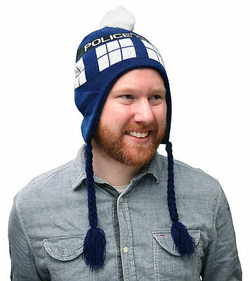 Doctor Who Tardis Call Box Winter Hat Laplander Beanie Adult One Size Licensed