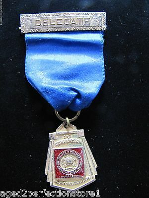 Original 1936 United Hatters Cap & Millinery Union Convention Delegate Medallion