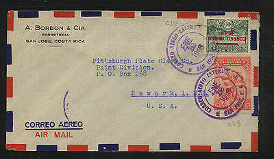 Costa  Rica  airmail  cover to   US     MS0519
