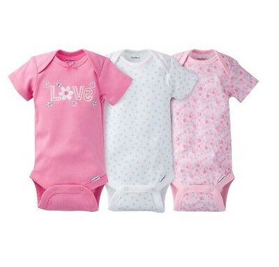 """Gerber Baby Girl 3-Piece Pink """"Love"""" Onesies Size Newborn BABY CLOTHES GIFT"""