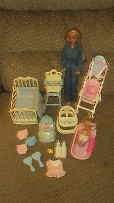 Vintage Simba Lot/steffi Love /stroller And Simba Baby With Nursery Set /accesor