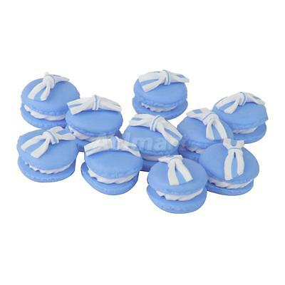 10pcs Blue Bownot Macarons Flatback Polymer Clay Beads Charms Findings Decor