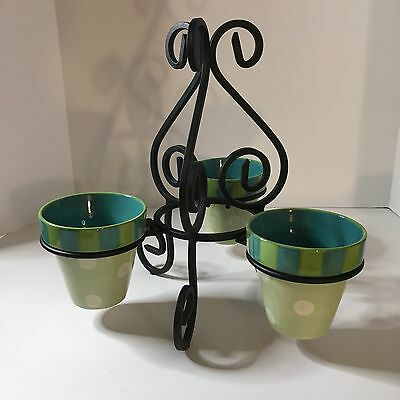 Southern Living At Home Gail Pittman Hand Painted Provence Pots And Iron Stand