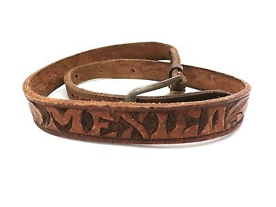 """Hand Tooled Leather Mexico Vintage Belt Brown  On Back 1950s 22-25""""Waist"""