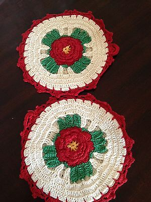 PAIR OF VINTAGE RED AND WHITE HAND CROCHET RAISED ROSE POTHOLDERS Plus one
