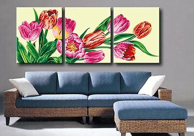 """20X20"""" DIY Acrylic Paint By Number kit Oil Painting Three Parts Flowers 558"""
