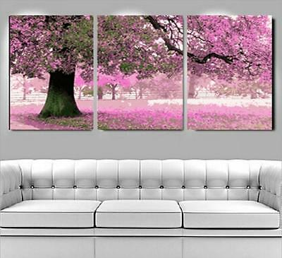 """New DIY Acrylic Paint By Number 20X20"""" kit Oil Painting Three Parts Flower Tree"""