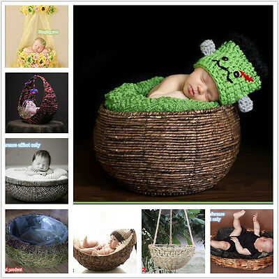 HOT! New Creative Photography Prop Handmade Woven Basket for Newborn Baby Infant