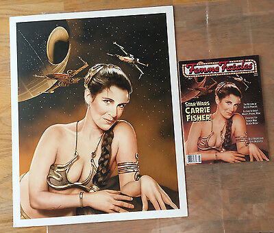 Star Wars CARRIE FISHER Slave Leia ORIGINAL ART Femme Fatales Cover SIGNED Auto