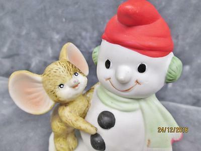 Vintage Homco Bisque Ceramic Snowman With Mouse Figure #8905 Made In Taiwan