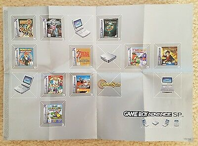 Nintendo Game Boy Advance SP Insert Advertising Poster - GBA - Collectable!