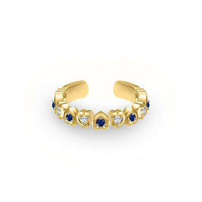 0.09 Ct White CZ & Blue Sapphire 10k Yellow Gold Over Heart Shape Toe Ring