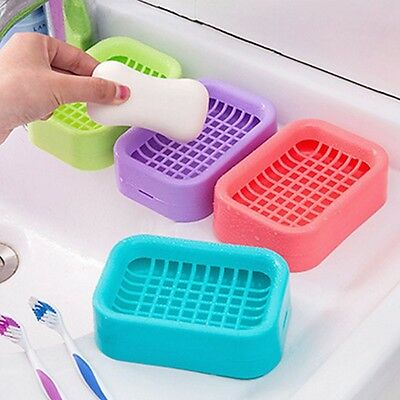 Double Layer Plastic Drainage Soap Box Holder Non-slip Dish Draining Bathroom