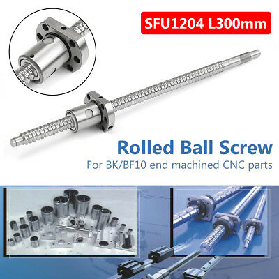 SFU1204 L300mm Rolled Ball Screw C7 with Single Nut for BK/BF10 end machined CNC